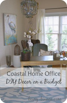 Home office craft room on pinterest sewing rooms craft for Coastal home office