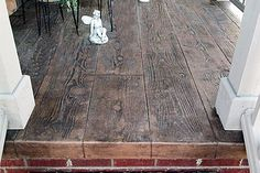 A stamped concrete patio using a wood plank pattern and dyed concrete. Description from pinterest.com. I searched for this on bing.com/images
