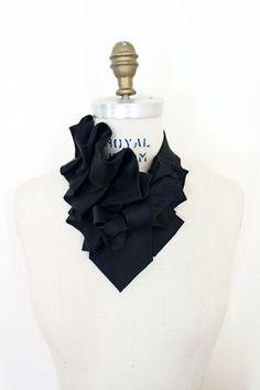 Aster in Satin Black Necktie Ruffle Collar - Lilian Asterfield