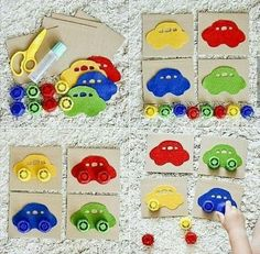Super easy to make and a great way to practise lots of skills Easy Games For Kids, Games For Toddlers, Diy For Kids, Preschool Learning Activities, Infant Activities, Preschool Activities, Learning Games, Diy Montessori Toys, Transportation Activities