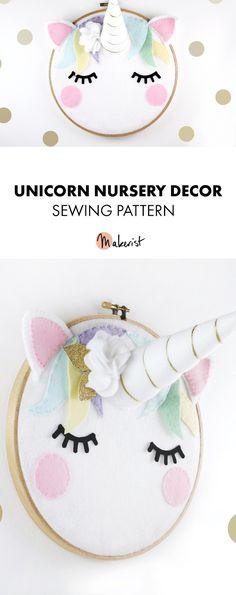 Unicorn nursery decor sewing pattern via Makerist!