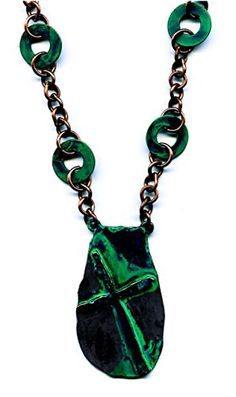 Copper with Green Patina Tone Cross Necklace 14 to 17 Inches JB