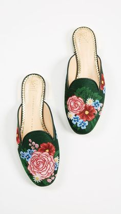 b3fc51965b3aaa Charlotte Olympia Rose Garden Slipper Mules #charlotteolympiaheelszapatos  #charlotteolympiaheelswalks Flat Mules, Top Shoes,