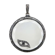 .925 Sterling Silver Pave Diamond EVIL EYE Charm Shaker Pendant 14k Gold Jewelry #raj_jewels