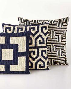 Mykonos Pillows by Jonathan Adler at Horchow. Crochet Bedspread Pattern, Tapestry Crochet, Crochet Motif, Crochet Patterns, Accent Pillows, Throw Pillows, Tooth Pillow, Crochet Home Decor, Jonathan Adler