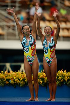 China: China's Huang Xuechen and China's Sun Wenyan--China's Duet Synchronized Swimming team performed to a Chinese opera.
