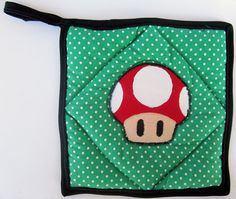 Super Mario Red Mushroom Applique on Green Polka Dot Pot Holder by OfflinePixels