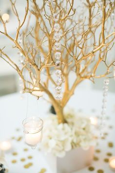gold branches centerpieces