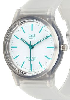 Vp46J035Y Transparant Round Watches by Q&Q. Analog watch with transparent case and strap. Strap made from rubber, rounded case that look so cute, transparent case that combined with turquoise watches needle as a point of view, look super cute.  http://www.zocko.com/z/JFL6X