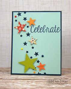 Starry Sky Die, Spot on Stamp Set, Stitched Stars Dies by Jen Carter of Jen's Ink Spot for Lil' Inker Designs Star Cards, Congratulations Card, Scrapbook Cards, Scrapbooking, Kids Cards, Origami, Paper Cards, Cute Cards, Handmade Cards