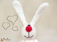 Crochet Bunny pattern Bbunny with heart crochet by FerFoxDesign