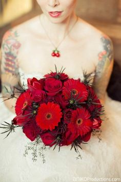 Mixed red wedding bouquet with an edge by Floral Sunshine