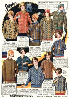 1928 Cardigans, V Neck Sweater jackets, Windbreakers and Pullover Sweaters. #1920s Sweaters  http://www.vintagedancer.com/1920s/ladies-1920s-sweaters/