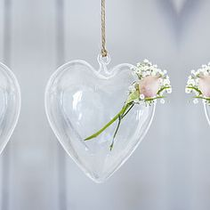 Hanging Heart Glass Vase - vases