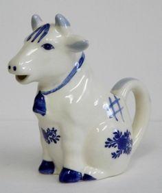 Vintage Mid Century Delft Blue & White Sitting Cow Cream Pitcher Creamer