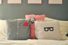 DIY Button Up Shirt Pillows