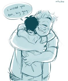 Tyson and Percy Jackson<<< I started to cry. Tyson's crying so I'm crying. Did he know that Percy and Annabeth fell? T~T <<< awwww Percy Jackson Fan Art, Percy Jackson Memes, Percy Jackson Books, Percy Jackson Fandom, Percy Jackson Tyson, Viria Percy Jackson, Percabeth, Solangelo, The Blue Boy