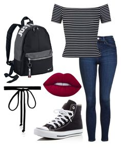 """⚫️⚪️"" by avery-xix on Polyvore featuring Topshop, Miss Selfridge, Converse, Joomi Lim, NIKE and Lime Crime"