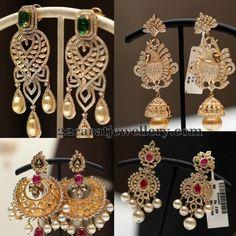 Exclusive Diamond Jhumkas by Srikrishna Jewels | Jewellery Designs
