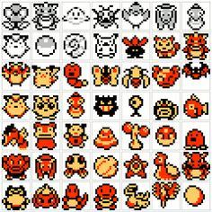 Small-sized Pokémon icons from the first and second generations.