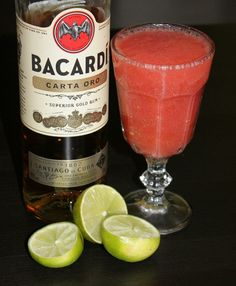 Frozen Strawberry Daiquiri  #weekendstarter #cocktails #drinks #recipeoftheday #bacardi #daiquiri #frozendaiquiri Frozen Strawberry Daiquiri, Frozen Strawberries, Bacardi, Alcoholic Drinks, Beverages, Cocktails, Recipe Of The Day, Rum, Tableware