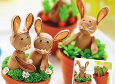 Learn how to make Diane Boden's quilled bunnies with our FREE tutorial http://www.crafts-beautiful.com/projects/mini-quilled-bunnies