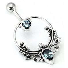 """14g 7/16"""" Bali FRAME Sterling Silver Navel Belly Jewelry"""