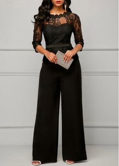 Peplum Waist Scalloped Neckline Lace Panel Black Jumpsuit | Rosewe.com - USD $38.02