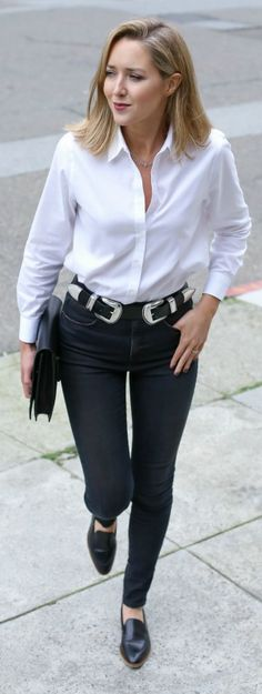 high waisted black faded skinny jeans, classic white dress shirt, silver double-buckle belt, pointed toe modern flats, layered dainty necklaces + black clutch {victoria beckham, theory, b-low the belt, everlane, melinda maria, sole society}