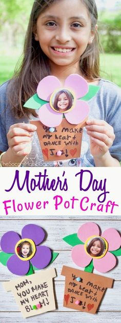 A sweet kid-made photo flower craft just for mom on her special day! Whether you're looking for a fun spring kid craft or a Mother's Day card idea, these dancing foam flowers are perfect! Easy to make with simple supplies! #mothersday #cards #kidscrafts #crafts #flower via @soccermomblog