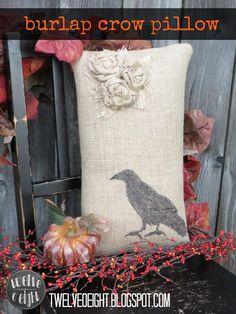 fall, burlap, pillow, home decor, crow, raven, shabby, rustic, halloween