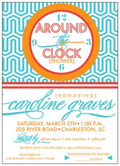 Modern Around the Clock Wedding Bridal Shower Invitation