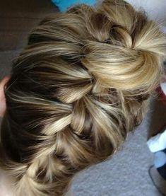 Upside down braid bun on Kelsey :)
