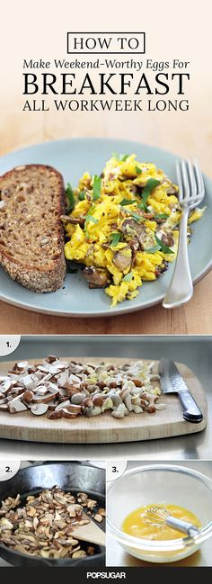 Love a scramble but don't have the time to make it properly before work? The solution is simple. Prepare the different components in advanced as demonstrated here and come Monday morning, all you have to do to make this luxe scramble is chop up a sun-dried tomato, beat some eggs, and get to cooking.