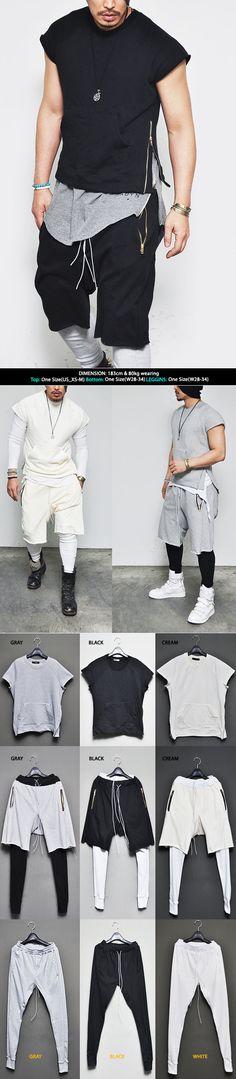Lux Badass Street Collection Zippered Short Crew Leggins Mens Set Sweatpants By Guylook.com