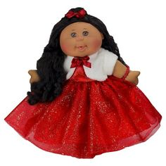 "Cabbage Patch Kids 14"" Holiday Kid (2016) African American Red Dress with Fur Jacket : Target"