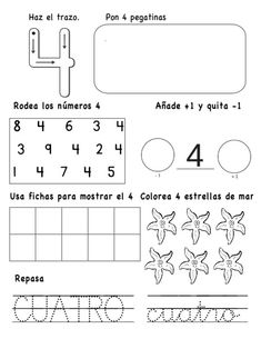 numeros-hasta-el-10-4-638 2nd Grade Activities, Kindergarten Math Activities, Preschool Writing, Math Literacy, 2nd Grade Math, Fun Activities For Kids, Preschool Worksheets, Math Classroom, Spanish Lessons For Kids