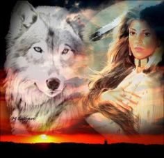 indian maiden and white wolf painting