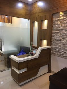 Best Ideas For Bath Room Sink Corner James Darcy Office Reception Design, Office Table Design, Dental Office Design, Office Furniture Design, Office Interior Design, Shop Interiors, Office Interiors, Pooja Room Door Design, Counter Design