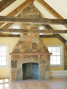stone fireplace - don't necessarily like this particular stone, but love the beams either across, or on vault, not both.