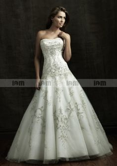 A-line Strapless Tulle With Embroidery Chapel Trailing Roya Wedding Dresses  Dress Wedding 86b85a475978