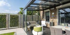 Riva (Uterom)   Solid glasstak   Gratis befaring   Scandic Markiser Garden Canopy, Patio Canopy, Outdoor Rooms, Outdoor Decor, Outside Patio, Modern Glass, Back Gardens, Garden Inspiration, Aluminium