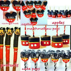 Mickey Mouse Inspired Treats. Cookies, Chocolate Covered Pretzel Rods, Marshmallow Pops, Cake Pops, Chocolate Dipped Candy Apples, Rice Krispie Treats