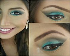 @jessicazzi da NYX ABC: Retractable Eye Liner Aqua Green esfumado com a Nude Matte Shadow Confession e delineado feito com o The Curve. Para completar os olhos, máscara Doll Eyes. Nos lábios, apenas um leve toque de cor com o Mood Lip Gloss