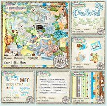 Our Little Man - Dana's Footprints Digital Designs is the perfect collection for those boy photos.A great palette of blues  and brown with some soft mint green and baby blue that work great for newborn layouts. http://www.godigitalscrapbooking.com/shop/index.php?main_page=product_dnld_info&cPath=29_210&products_id=31307