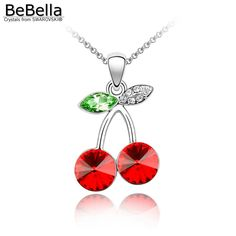 BeBella red fruity cherry pendant necklace made with crystals from Swarovski for women 2016 Mother's Day gift //Price: $14.58 & FREE Shipping //     #womanparadise