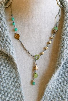 Celeste. rhinestone drop,peridot crystal,pearl,romantic necklace. Tiedupmemories