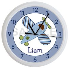 Little Aviator Airplane Personalized Nursery Wall Clock Boy's Bedroom Airplane Bedroom, Airplane Decor, Baby Boy Rooms, Baby Boy Nurseries, Baby Boys, Aviation Nursery, Notes Design, Unique Baby Shower Gifts, Man Room