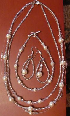 Three Tier Beaded Necklace Bracelet and Earring Set by OrchidViola, $36.00