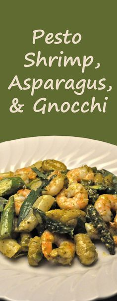 Shrimp, Asparagus and Fried Gnocchi, with Pesto sauce